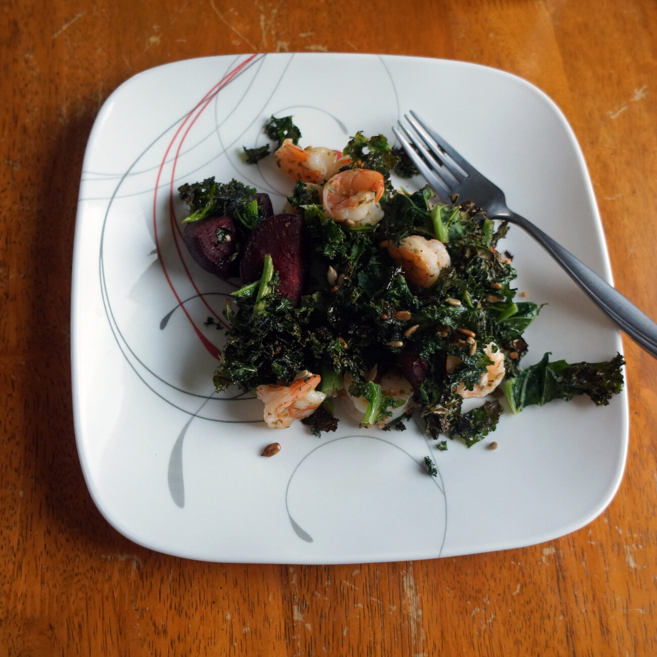 Shrimp, Kale and Beet Sheet Pan Dinner