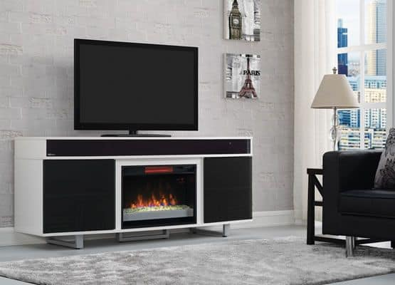 white enterprise electric fireplace media console