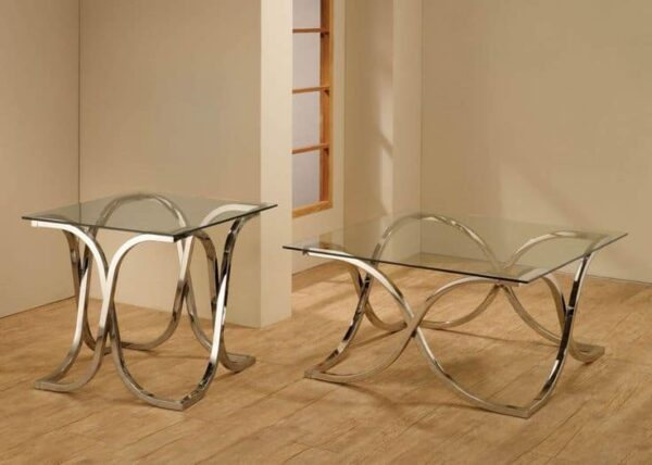 Contemporary Occasional Table Set nickel coasteressence