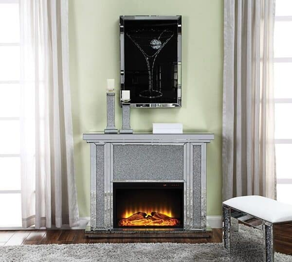 nowles electric fireplace mirrored bling