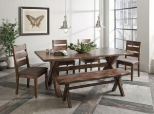 alston knotty nutmeg collection with bench rustic dining
