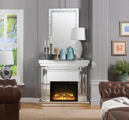 Nysa electric fireplace glam bling crystal glamorous bling mirror