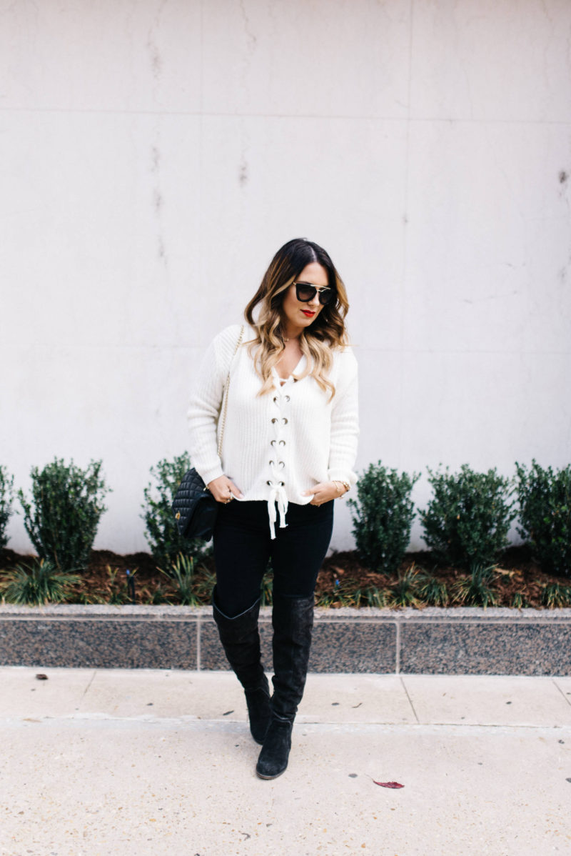 white lace up sweater with Chicwish