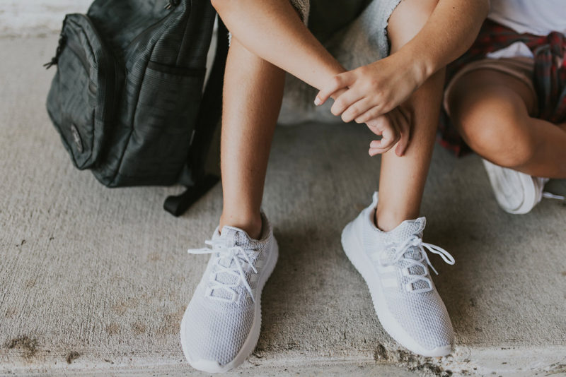 I like the shoes that Gideon picked from our sponsor, Shoe Carnival. He usually goes for bright shoes so he added a new spin with these neutral Adidas shoes. #ad