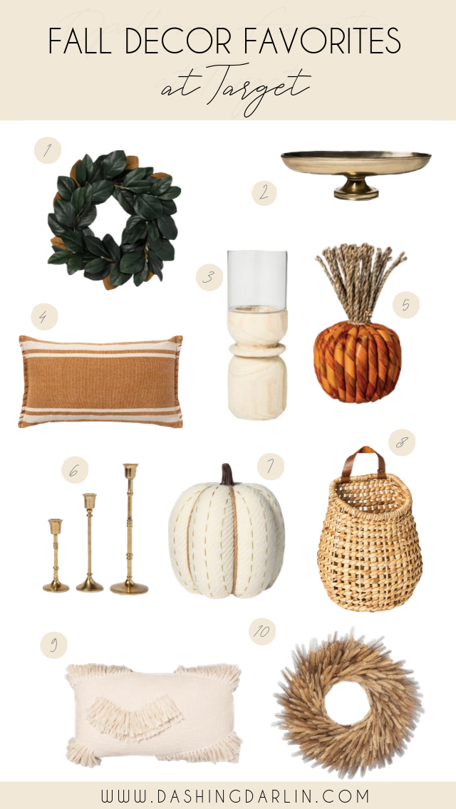 SHARING ALL OF MY FALL DECOR FAVORITES FROM #TARGET THAT ARE AFFORDABLE #TARGETFINDS #FALLDECOR. PUMPKINS, WREATHS, THROW PILLOWS AND MORE ARE ALL ON THE BLOG. #TARGETHOME
