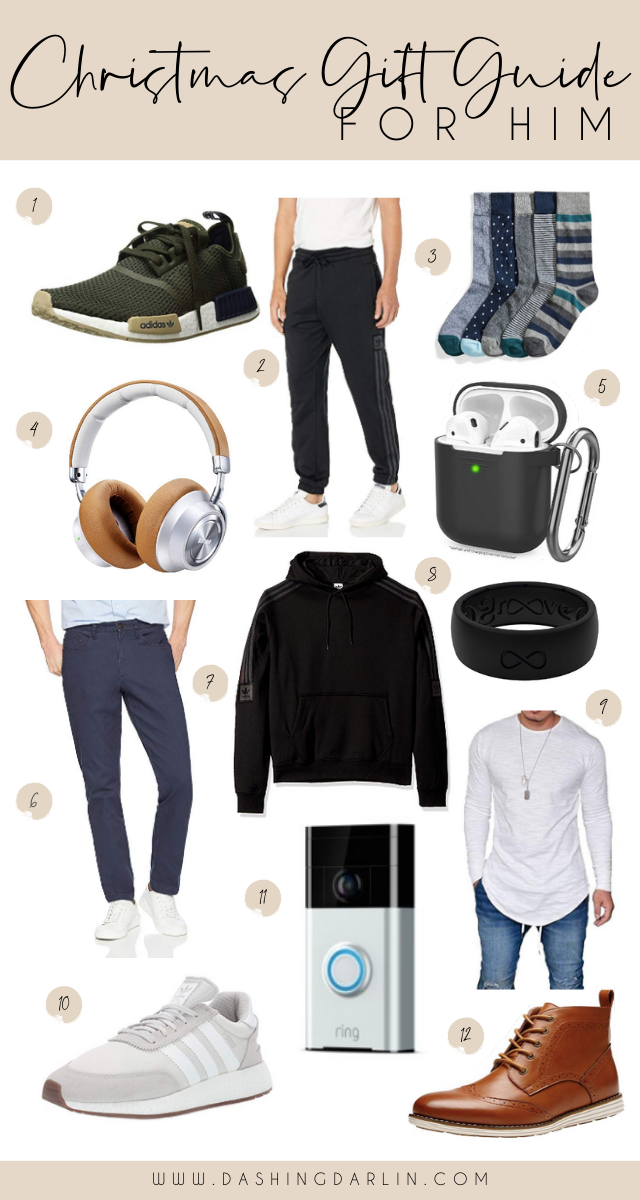 CHRISTMAS GIFT GUIDE FOR HIM - AFFORDABLE GIFT OPTIONS LIKE HEADPHONES, SNEAKERS, PULLOVER, AND MORE ON THE BLOG