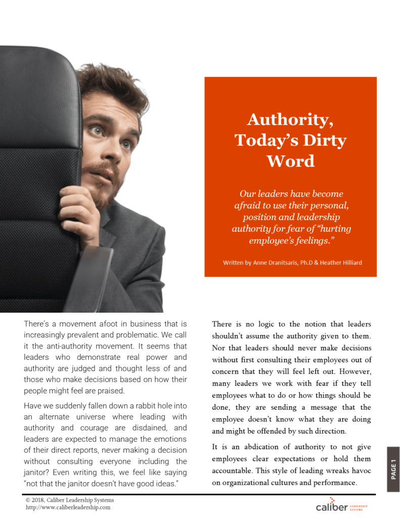 Authority today's dirty word article, leadership article