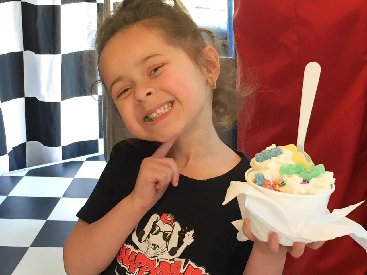 Young Girl with Her Ice Cream and Gummie Bears