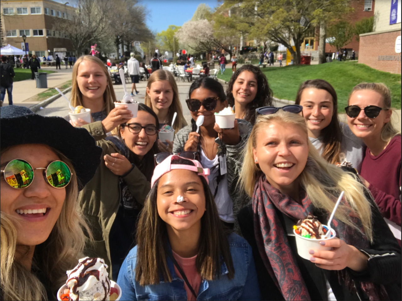 Students Having Fun at Event with Ice Cream