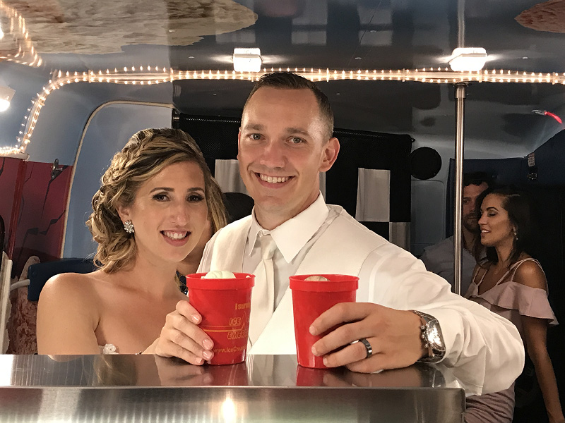 Wedding Couple Eating Ice Cream