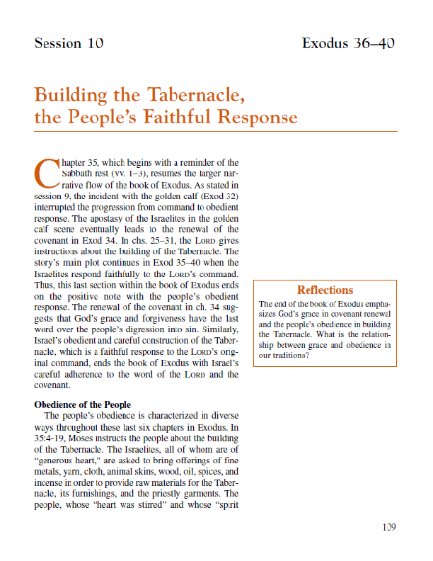 Lesson 10 – Building the Tabernacle