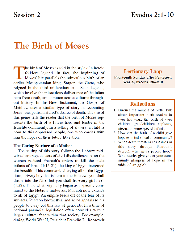 Lesson 2 The Birth of Moses