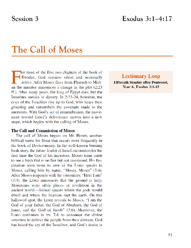 Lesson 3 The Call of Moses