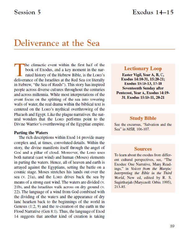 Lesson 5 – Deliverance at the Sea