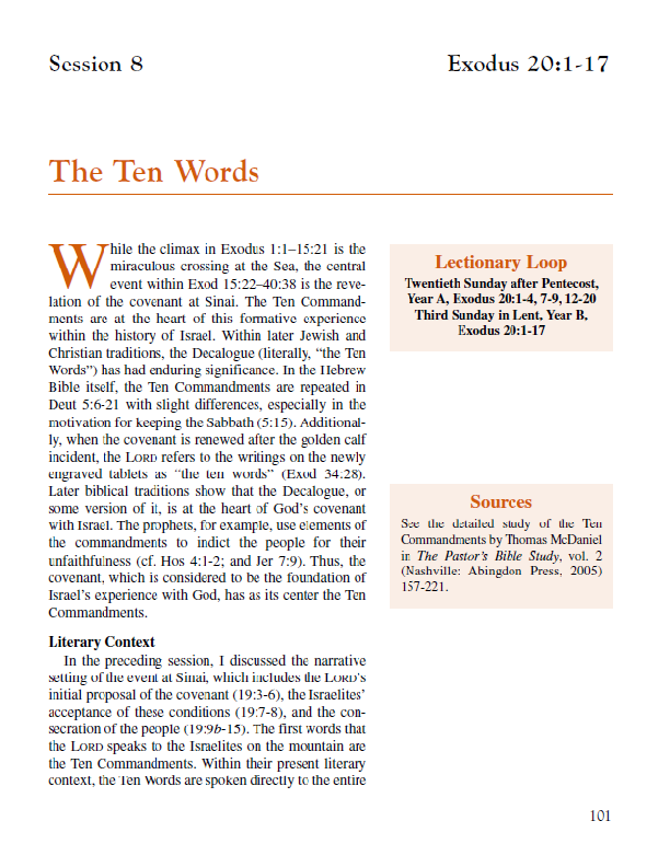 Lesson 8 – The Ten Words