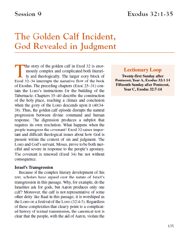 Lesson 9 – The Golden Calf Incident