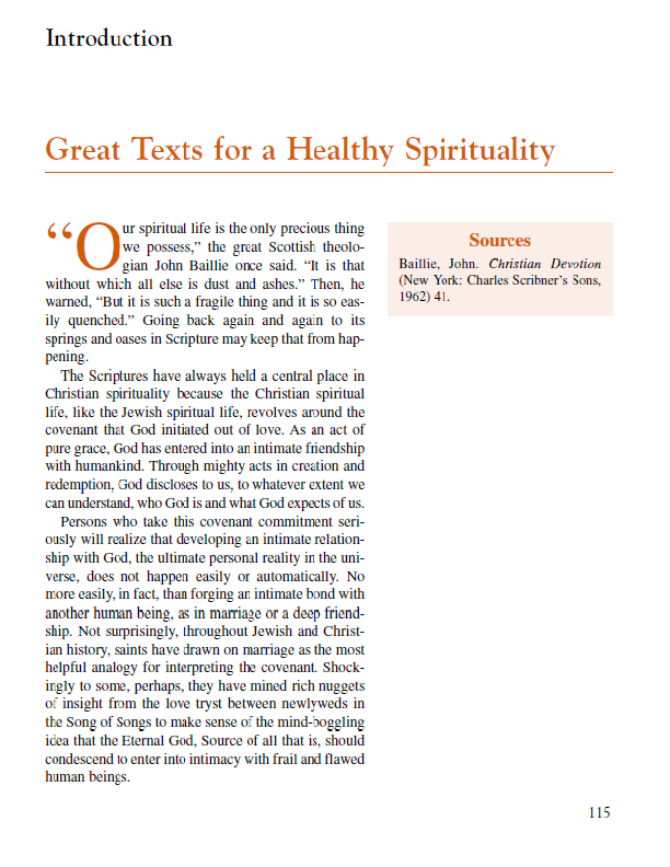 "Introduction ""Great Texts for a Healthy Spirituality"""