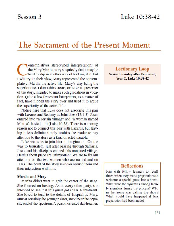 "Lesson 3 ""The Sacrament of the Present Moment"""