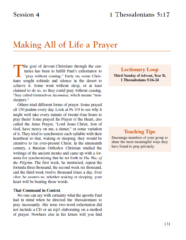 "Lesson 4 ""Making All of Life a Prayer"""