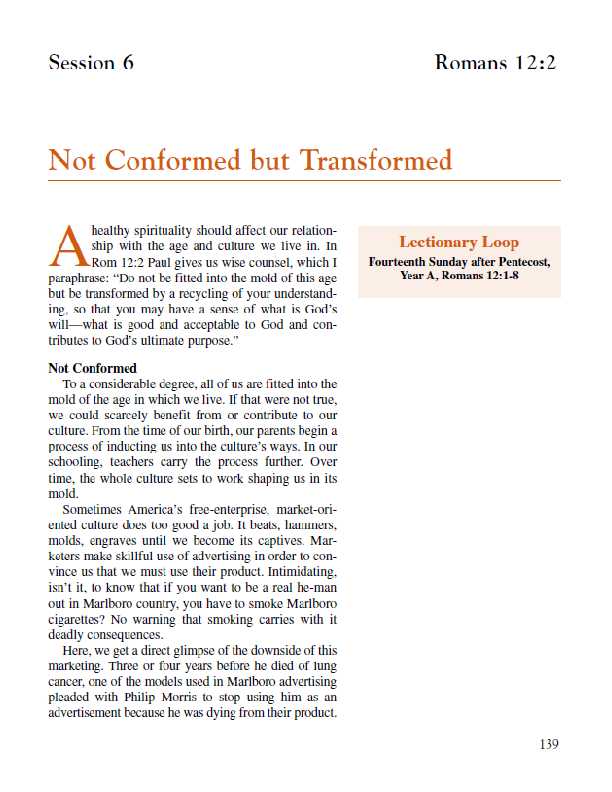 "Lesson 6 ""Not Conformed"" but Transformed"