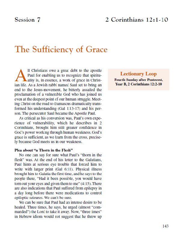 "Lesson 7 ""The Sufficiency of Grace"""