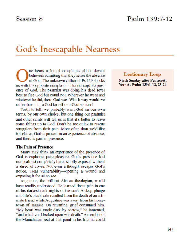 "Lesson 8 ""God's Inescapable Nearness"""