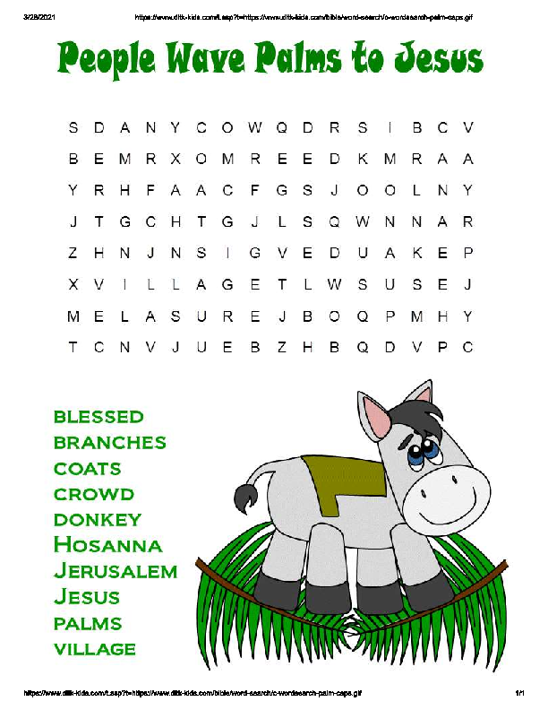 Palm Sunday Word Search