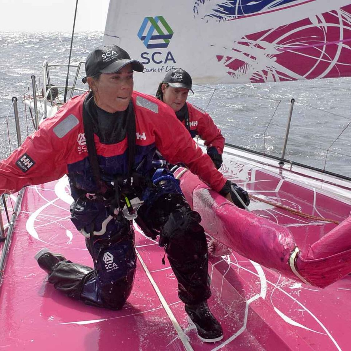 SPT athlete sara hastreiter on the bow of SCA in the Volvo Ocean Race