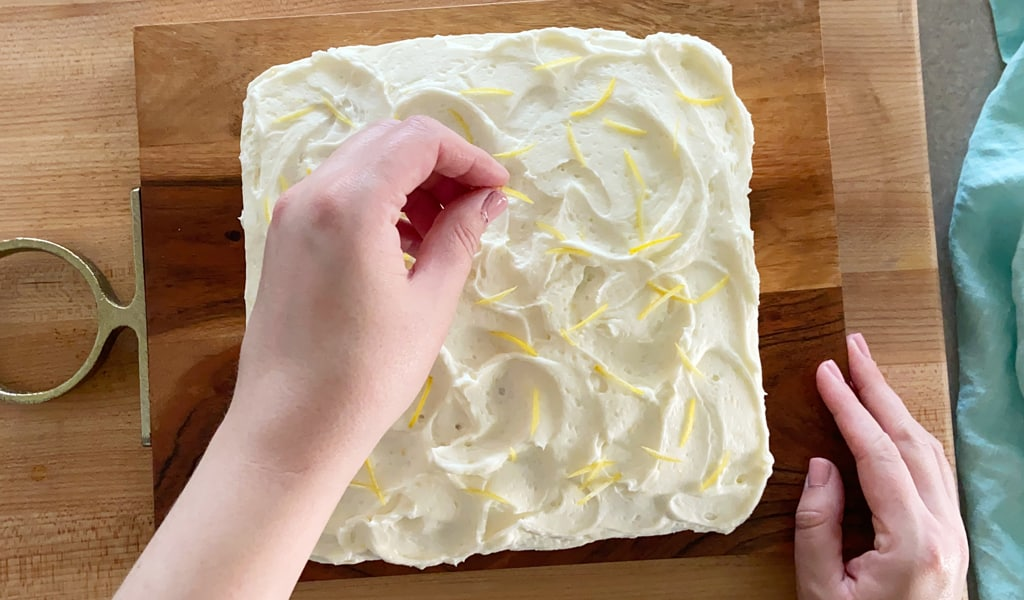 top cake with lemon zest