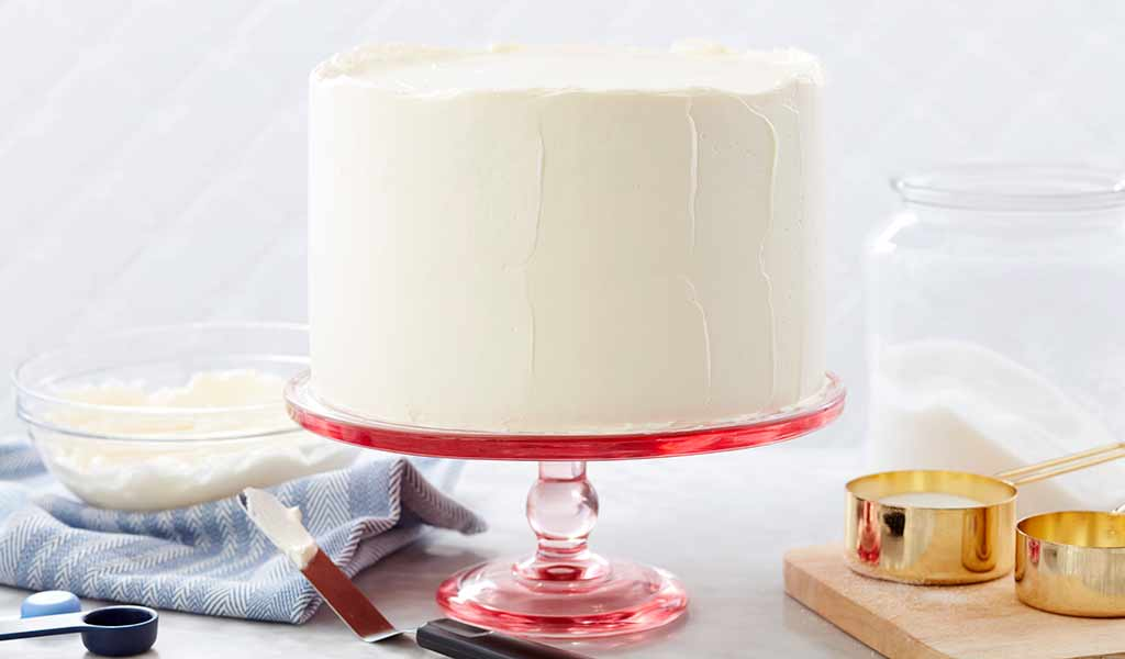 cake frosted with swiss buttercream