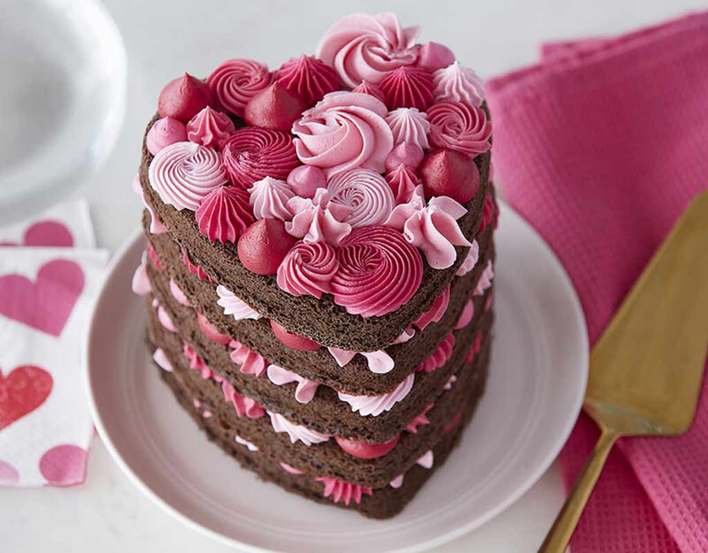 chocolate heart shaped layer cake decorated with light and dark pink buttercream swirls