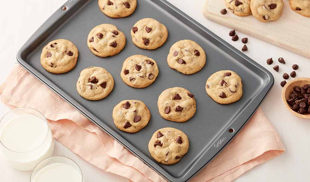 chocolate chip cookies on cooling grid
