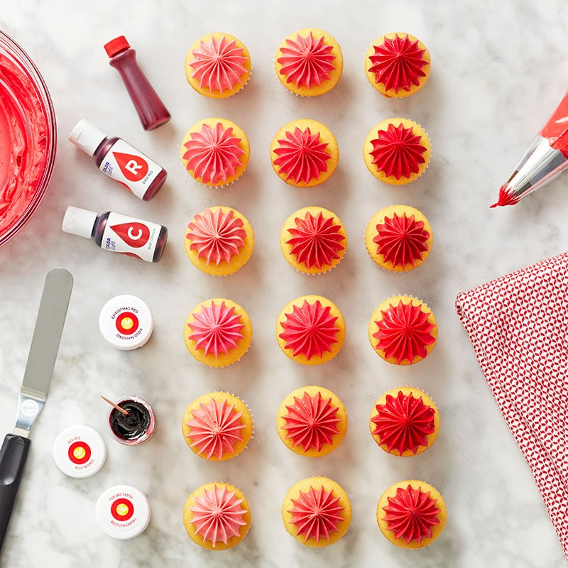 red frosting on mini cupcakes