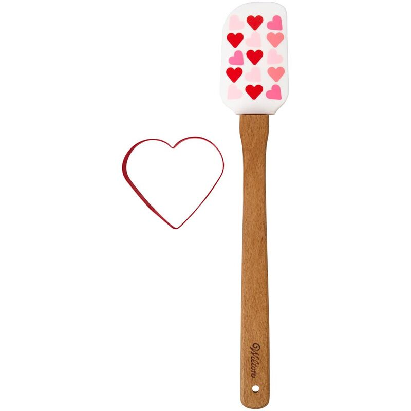 Valentine spatula and heart-shaped cookie cutter set