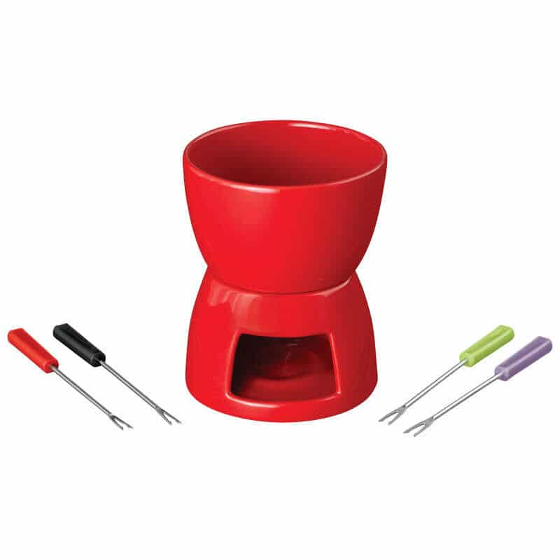Red fondue set using a tealight candle