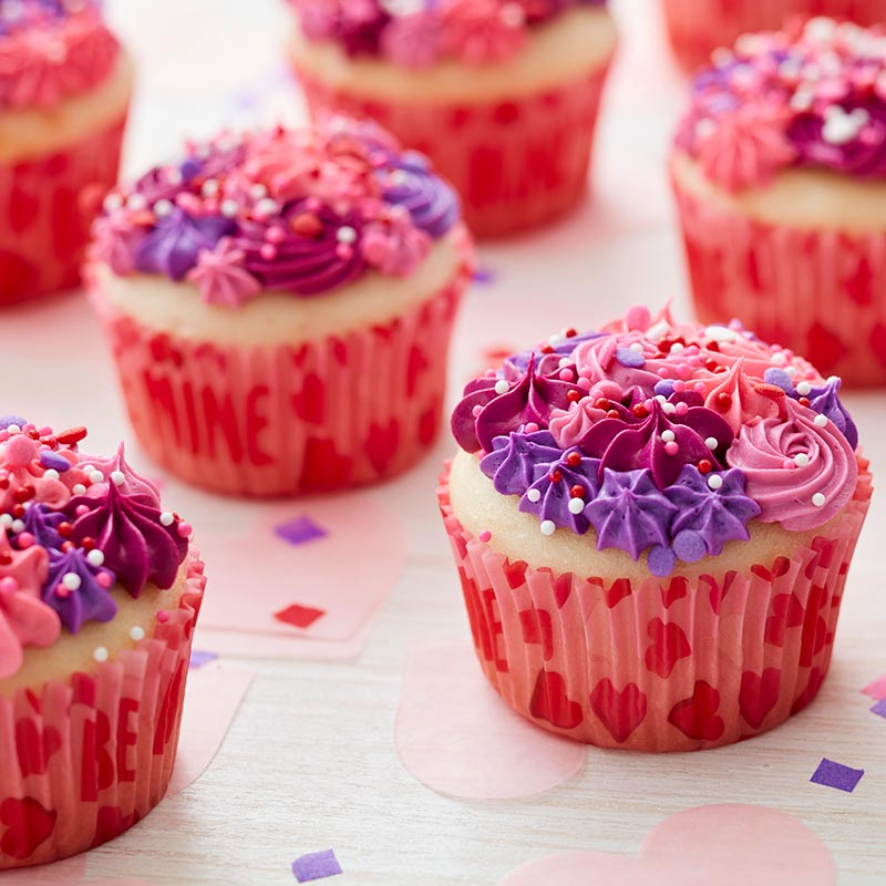 Pink and Purple buttercream piped cupcakes