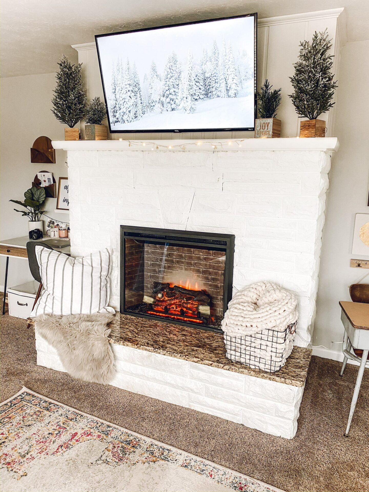 cozy painted fireplace