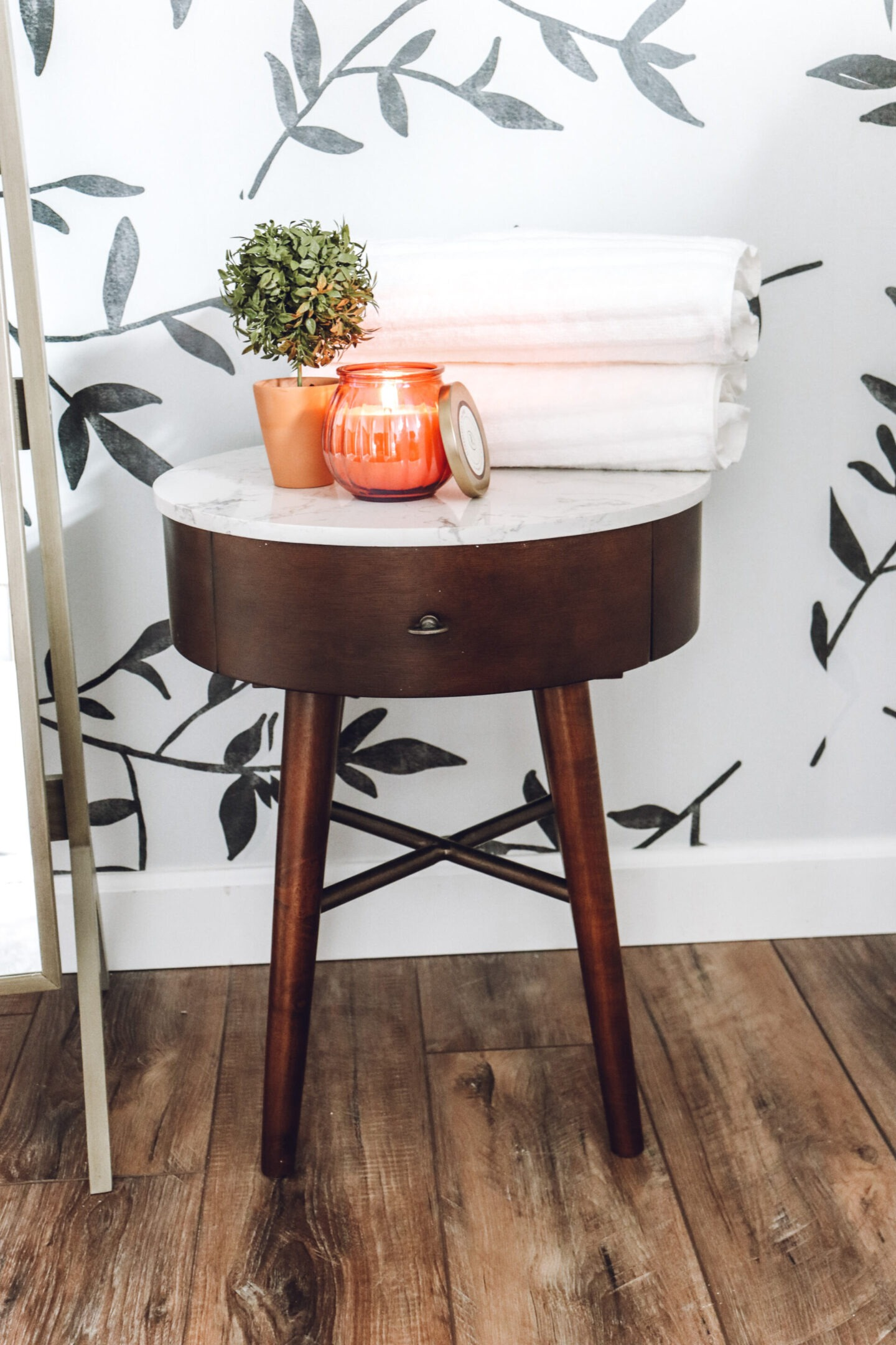 wood and marble side table Master Bathroom Remodel