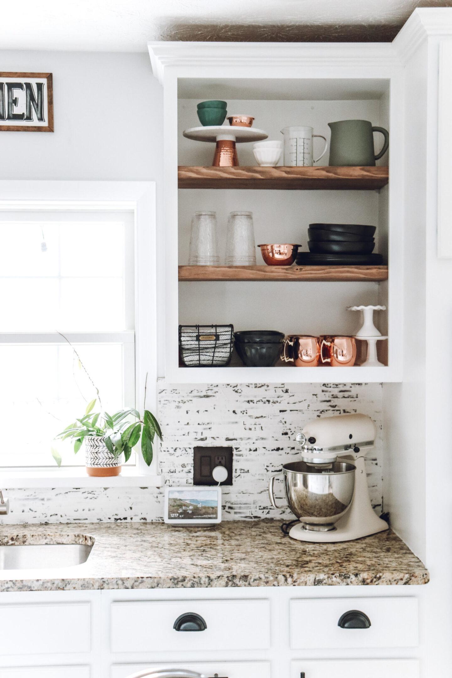 kitchen shelf Kitchen Backsplash & Shelf Project