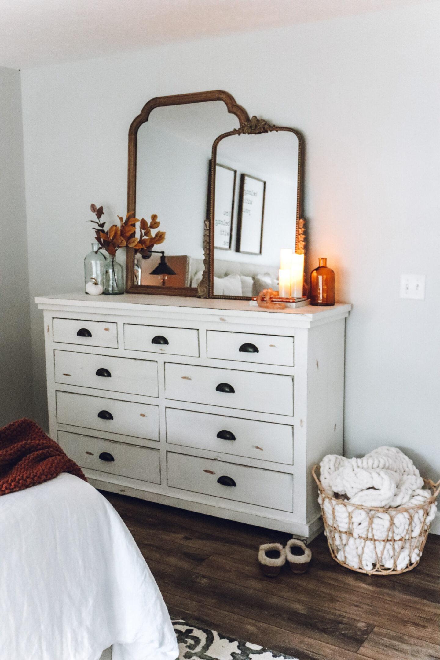 cozy fall master bedroom