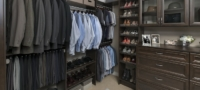 Dark wood finish custom walk-in closet