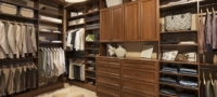 Wood finish custom walk-in closet