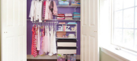 Custom wire shelving within reach-in closet