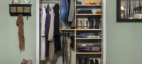 Custom storage within reach-in entry closet