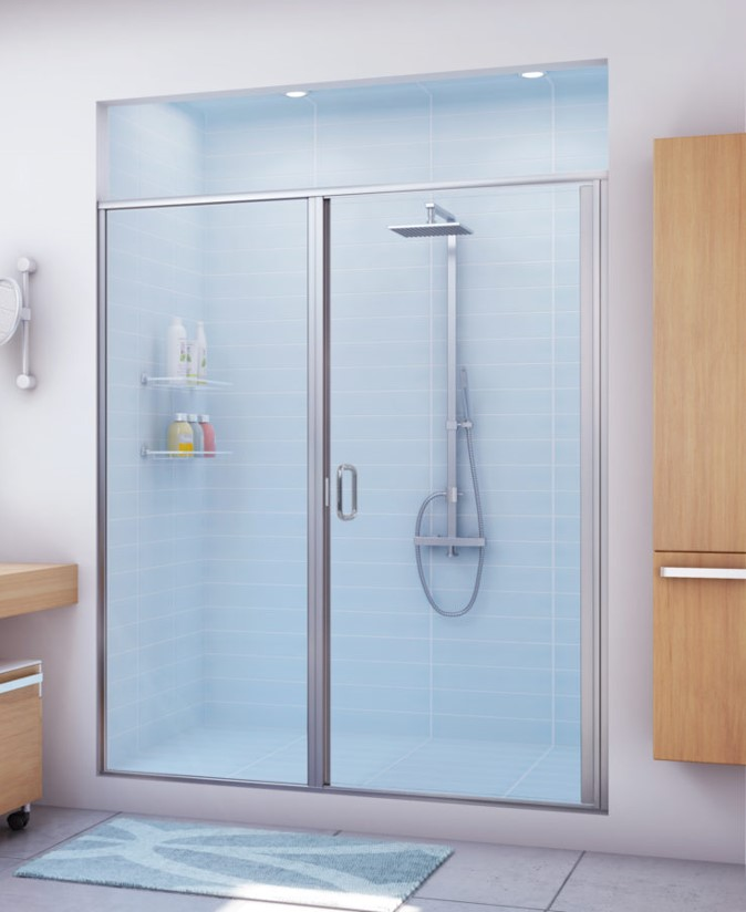 Custom semi-framed glass shower door within bathroom