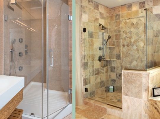 Custom glass frameless shower door within in bathroom
