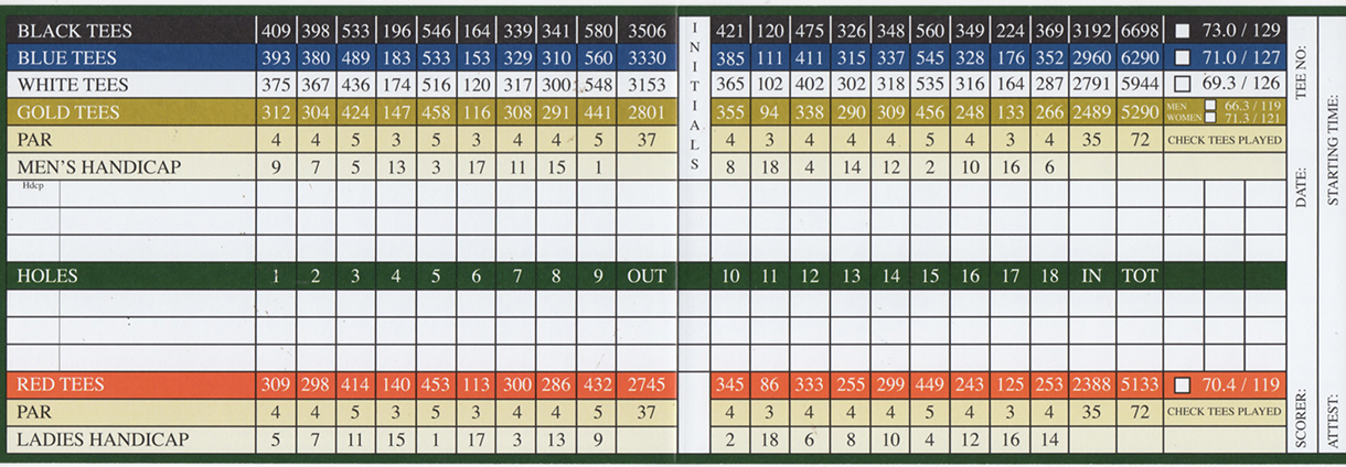 River Rigdge Golf Course Scorecard