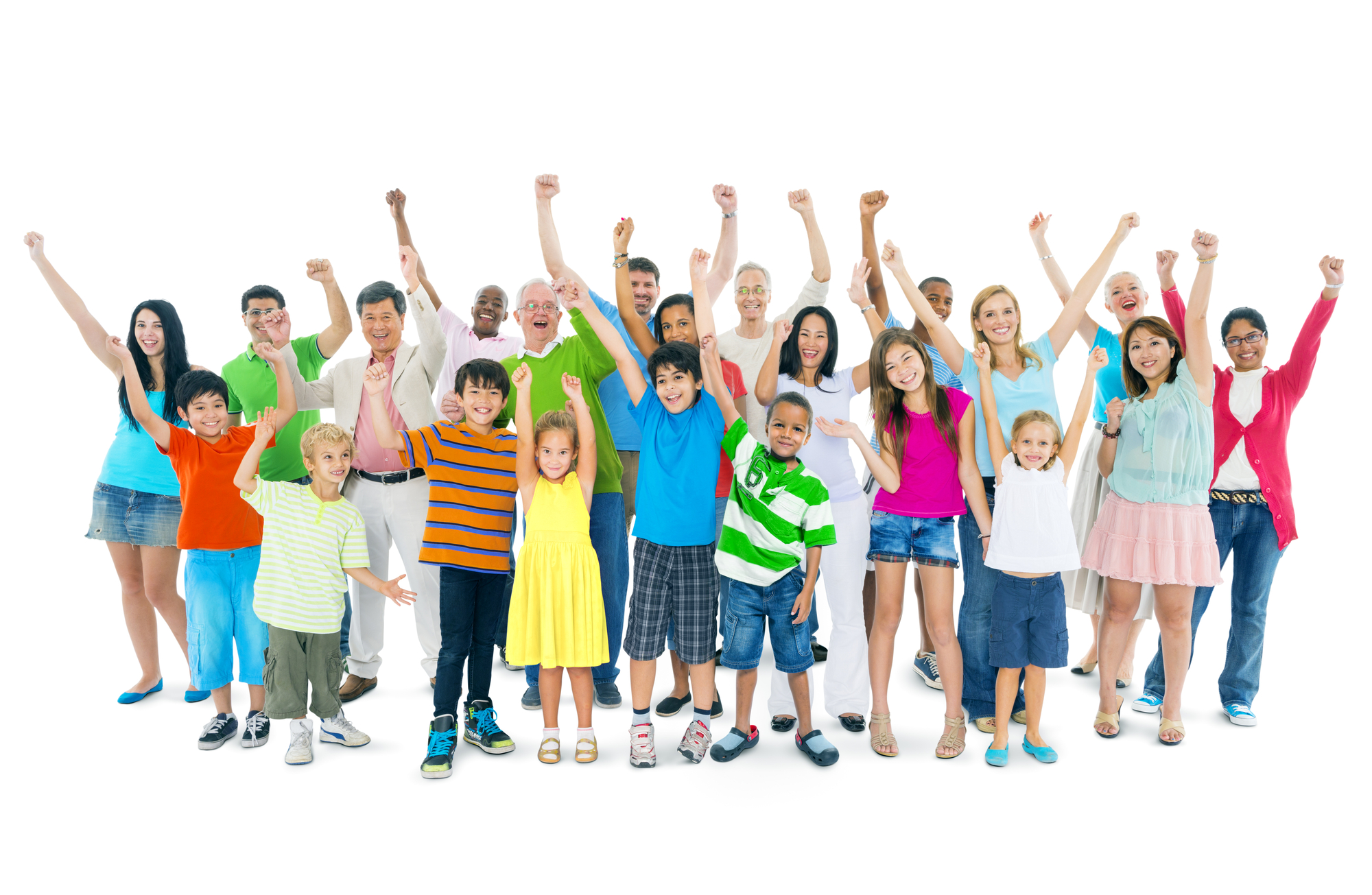 group of people with their arms raised