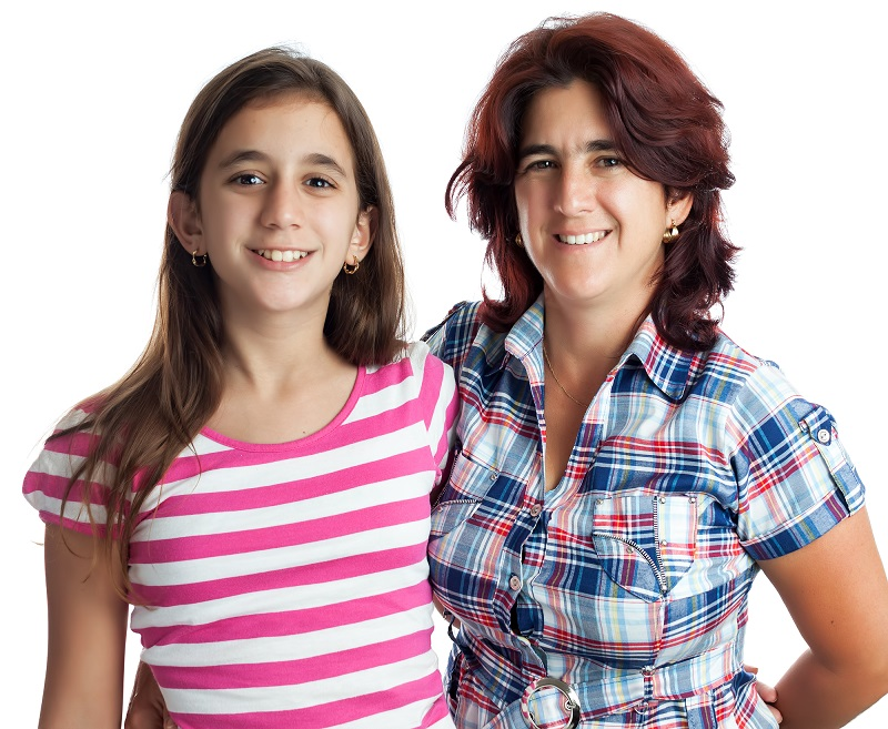 mom and teen daughter