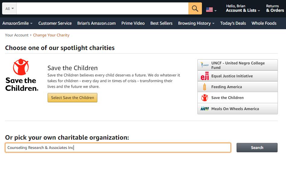 find an organization on amazonsmile